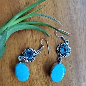 Sterling Silver 925 Turquoise Gemstone Earrings